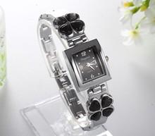 Fashion Women Good Luck Four Leaf Clover Bracelet Wristwatch Lady Dress Watch Rectangle Dial Wathes Gifts