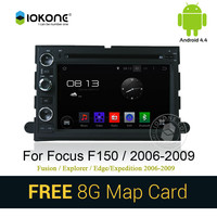 Android 4.4 pure 3g wifi car dvd stereo radio player with gps navigation for FOCUS F150 Fusion Explorer 2006-2009