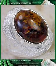 8Ct Rare Golden Pietersite 925 Solid Sterling Silver Filigree Gemstone Ring Size 7 MR461