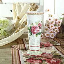 Elegant Rose Design Fine Porcelain Vase of Spring in Paris
