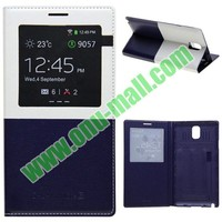 Fashion Double Color Leather cover and Replacement Back Cover for samsung galaxy note 3 iii n9000 case