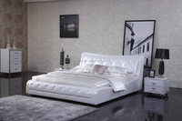 White leather bed home bedroom furniture set