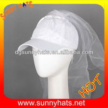 Sunny Hats Fashion Ladies Summer 100% Lace Cotton Material Wholesale Plain White Snapback Hat With Veil