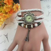Fashion Vintage Retro Wrap Rope Leather Cord Bracelet Watch for girls LE0020