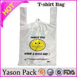 Yason logo print plastic bag custom made shopping bags white t-shirt bag