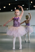 MBP0019 Teen girl's purple sequin shiny stage competition dance costume ballet tutu dress