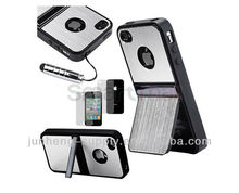 Silver Aluminum TPU Hard Case Cover with Chrome Stand For iPhone 4 4G 4S