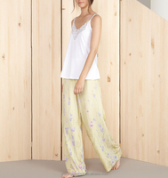 Factory Lace Neck Girls Plain White Rayon Jersey Pajamas Camisole Top and Yellow Floral 100% woven Rayon Pajamas Sleep Pant