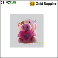 E1688 Carpo Authentic snow Wolf Plush sound cute pink pig plush doll speakers