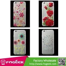 Super Slim 0.1mm Diamond Flowers Pattern Soft TPU Gel Case for iPhone 6 4.7 inch