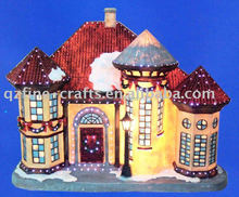 Polyrésine de noël artisanat cadeau de maison de neige avec fiber optique LED lumière
