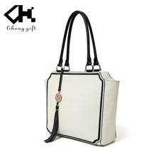 High quality elegant plain white women leather tote bag brand
