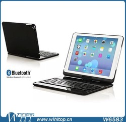 360 degree rotating bluetooth keyboard flip stand leather case cover for iPad air 2, for iPad air 2 leather flip keyboard case