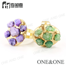 Latest Gold Ring Designs Big Druzy Quartz Ring Charming Jewelry for Lady
