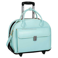 "Patent Rolling 15"" Laptop Case Women Stylish PU Leather Trolley Tote Traveling Bag Wheeled Overnight Luggage Briefcase"