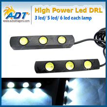 White Car Daytime Running Light Head Lamp 3 LED DRL Daylight Kit 12V
