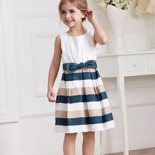 Girls Classic Striped Princess Dress,Kids Summer Sleeveless Cotton Dress,Children Boutique Clothing Wholesale
