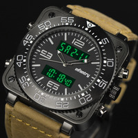 INFANTRY Mens Military Sport Digital Analog Luminous Date Date Display Leather Rubber Square Watch Set