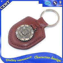 Custom souvenir metal and leather keychain