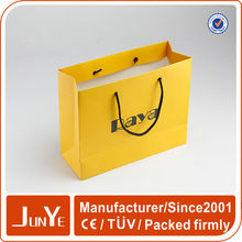yellow color paper shopping handle bag for cosmetics