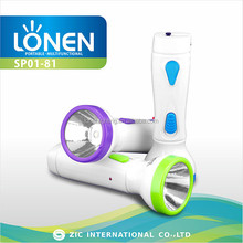 LONEN all brand 1W light plastic most powerful rechargeable high powered emergency flashlight