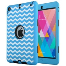 New Arrival Silicone+PC 3 in 1 Case for iPad Mini with Wave Pattern