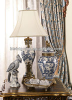 Elegant Hand Painted Blue and White Porcelain Table Lamp, Royal Luxurious Porcelain and Brass Home Decor BF06-1015