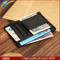 Wholesale Leather Men's Mini Front Pocket Wallet ID Credit Card Holder with Metal Spring Clip