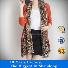 knitting and tatting joint sweater cardigan with leopard print for ladies