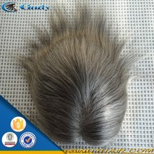 AAAAA grade all colors all textures 3-30inch indian remy gray hair hairpiece wigs for men