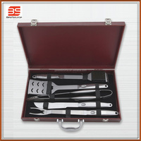 5pc new product stainless steel bbq tool set/bbq grill with wooden case include spatula/fork/tongs/knife/cleaning brush