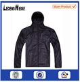 100% poliéster made - en fábrica brillante negro de la chaqueta con capucha