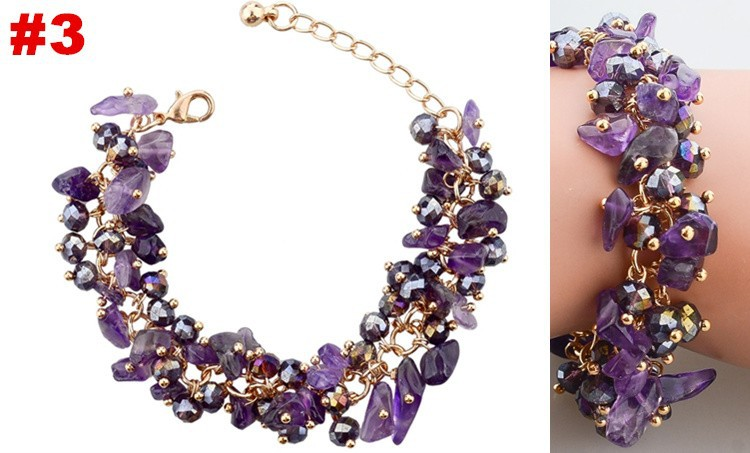 2014 Модный Amethyst Charm Bracelets & Bangles Золото Plated Chain & Link Crystal Bracelet For Женщины Bracelet Jewelry SBR140192