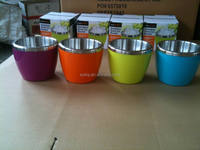 25oz/750ml stainless steel double walls ice bucket/wine cooler/bowl with colorful plastic shell