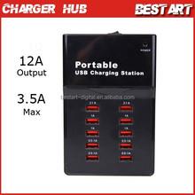 Desktop Design portable 10 Port Multi port USB charger Hub, charging station with AU/EU/US/UK Plug