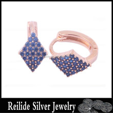 Hot Sale DF121019 Blue Stone 925 Silver Jewellery Gold Earrings Designs for Girls;Cheap Earrings Made in China