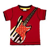 2-6T (B8106#red) popular summer children kids boys t shirt cute guitar printed children kids boys tees clothing t shirt
