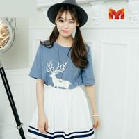 Korean fashion 2015 short sleeve deer printed women casual t shirt