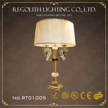 2015 Hot New elegant designs clear glass diamond shaped table lamp with orange shade UL CE RoHS