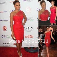 Wholesale - 2012 Melanie B Sexy Red Evening Dresses One Shoulder New Lace Mini Short Celebrity Dresses MB
