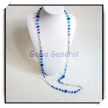 Largo azul granos cristalinos de la cadena collar de la joyería del ojo turco