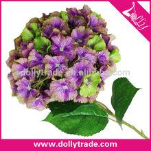 Venta al por mayor hermosa púrpura hydragea arreglos florales con follaje
