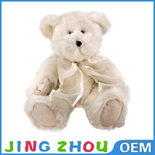 super soft plush silk ribbon white teddy bear wholesaler