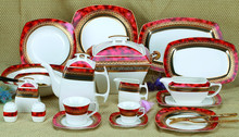 Bone china dinnerware set in luxury and royal style of square shape