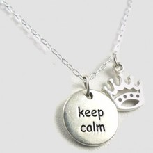 Keep Calm and Carry On sterling silver charm crown charm necklace-sterling silver necklace