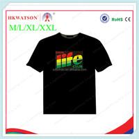 2014 new design LED flashing el tshirt music activated el tshirt Fashion cotton sewing colourful panel t shirt