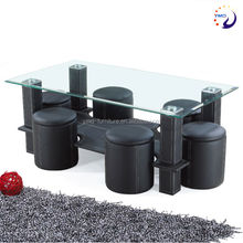 Hot selling new modern leather covered glass coffee table with stools