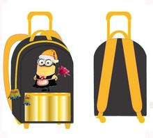China Customize Cartoon Kids Schooltrolley bag,school backpack With Wheel For Boys despicable me Minions NBCU factory