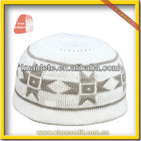 100% Cotton High Quality Hand Knitted Crochet Muslim Prayer Caps,white muslim cap,knitted prayer cap pattern KDTCP006