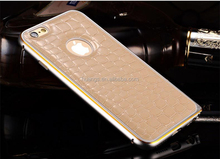 High quality Crocodile Grain Faux Leather Back Cover+Aluminum Metal Bumper Case case for iphone 6 6 plus china suppliers